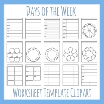 Days of the Week / Weekly Worksheet Templates Clip Art for Commercial Use