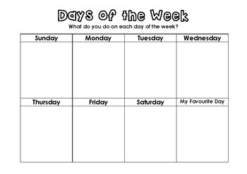 Days of the Week What do you do each day?