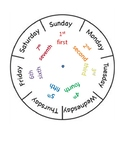 Days of the Week Wheel with ordinal numbers and before and