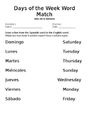 Days of the Week Word Match- Spanish and English