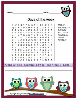 Days of the Week Word Search *OWL EDITION*