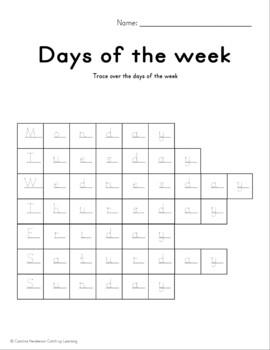 Days of the Week Workbook Calendar Time