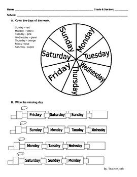 Days Of The Week Worksheet By Joshua Primavera Tpt