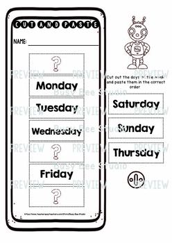 Days of the Week Worksheets | Cut and Paste