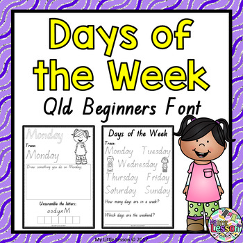Days of the Week Worksheets QLD Beginners Font