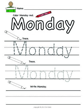 Days of the Week: Write and Color