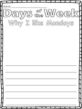 Days of the Week Writing Prompts: I like...