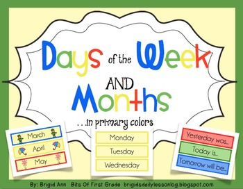 Calendar Days of the Week and Months Primary Colors