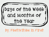 Days of the Week and Months of the Year Cards