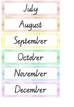 Days of the Week and Months of the Year Display - Rainbow Theme