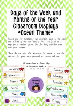 Days of the Week and Months of the Year Displays - Ocean / Sea Theme