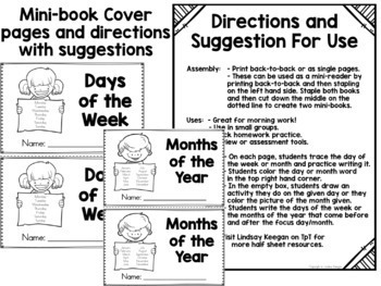Days of the Week and Months of the Year - Half Sheets -Morning Work or Mini-Book