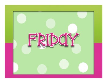 Days of the Week and Months of the Year Polka-Dot Pink and Green Room Decor