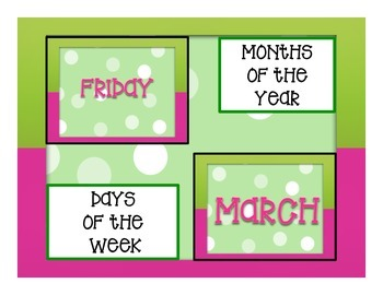 Days of the Week and Months of the Year Polka-Dot Pink and