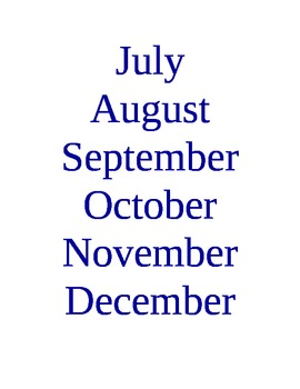 Days of the Week and Months of the Year Signs