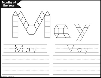 Days of the Week and Months of the Year Task Cards: Pattern Blocks