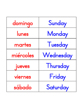 Days of the Week and Months of the Year in English and Spanish