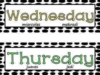 Days of the Week and Months of the Year w/ Editable Slides