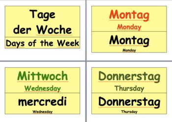 Days of the Week calendar in German Wishlist Priced