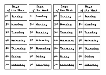 Days of the Week - cursive