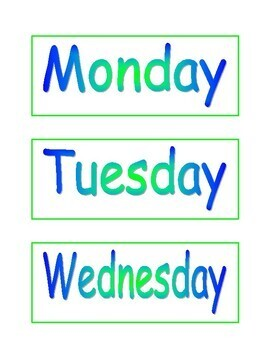 Days of the Week (display cards)
