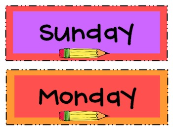 Days of the Week for Display or Filing {Freebie}