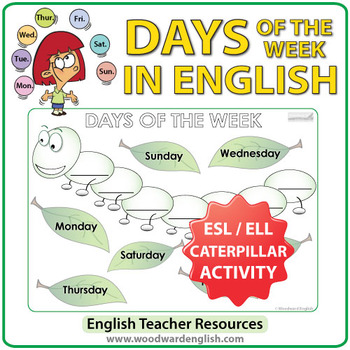 Days of the Week in English - Caterpillar Worksheet by