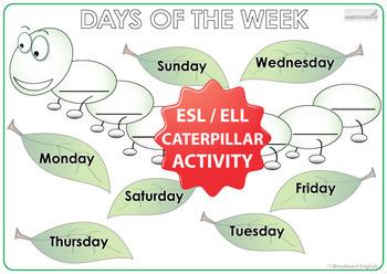 Days of the Week in English - Caterpillar Worksheet