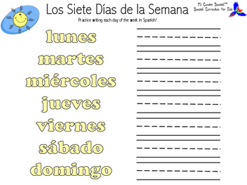 Days of the Week in Spanish!