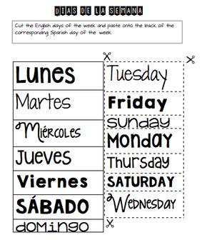 Days of the Week in Spanish Dias de la semana *edited*