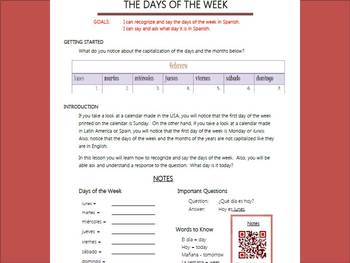 Days of the Week in Spanish: Notes and Acitivities