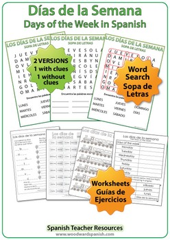 Days of the Week in Spanish - Worksheets, Wall Charts and Flash Cards