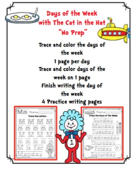 "Days of the Week with The Cat in the Hat ""No Prep"""