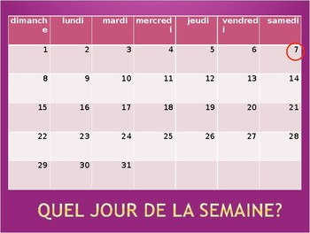 Days of the Week/Jours de la Semaine French Vocab Speaking Activity
