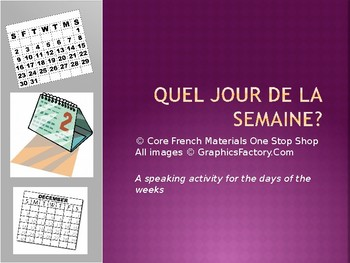 Days of the Week/Jours de la Semaine French Vocab Speaking