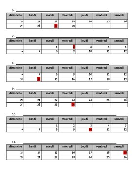 Days of the Week/Jours de la Semaine French Written Activity