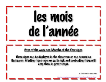Days of the Week/Months of the Year in French
