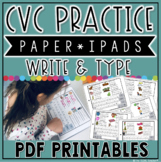 CVC Words: Paper iPads Write & Type Practice
