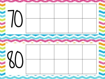 Days of the Year Tens Frame- Colorful Chevron