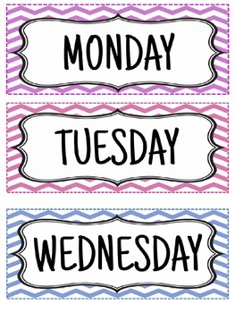{{FREEBIE}} Days of the week - Chevron