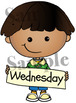 Days of the week. Clipart. BLACK AND WHITE & Color Bundle. {Lilly Silly Billy}
