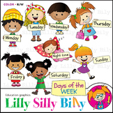 Days of the week. Clipart. BLACK AND WHITE & Color Bundle.