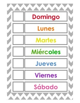 Days of the week - English & Spanish