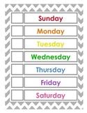 Days of the week - English & Spanish