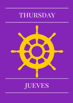 Days of the week. English & Spanish. Nautical
