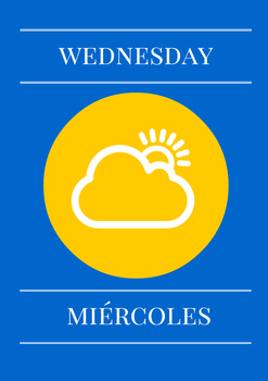 Days of the week. English & Spanish. weather