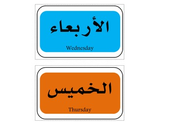 Days of the week Flashcards Arabic