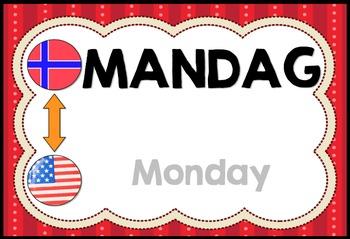 Days of the week in Norwegian  (flashcards & worksheets)