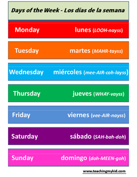 Days of the week POSTER - English / Spanish