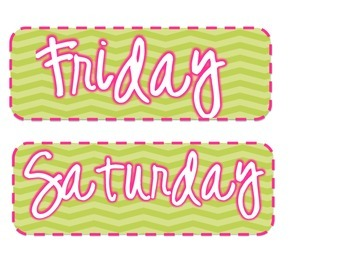 Days of the week {Pink and Green Chevron}
